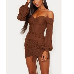 Chocolate brown ribbed body con dress